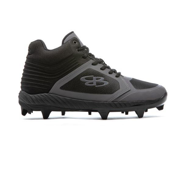 Men's Ballistic Mid Molded Cleats Black/Shadow Gray