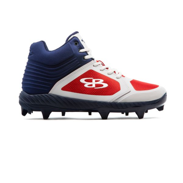 Men's Ballistic Mid Molded Cleats Navy/White/Red