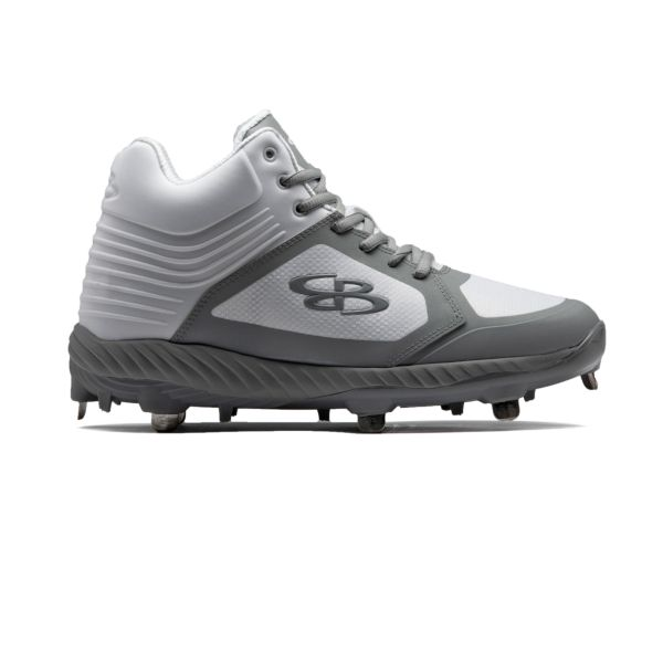 Men's Ballistic Mid Metal Cleats White/Gray