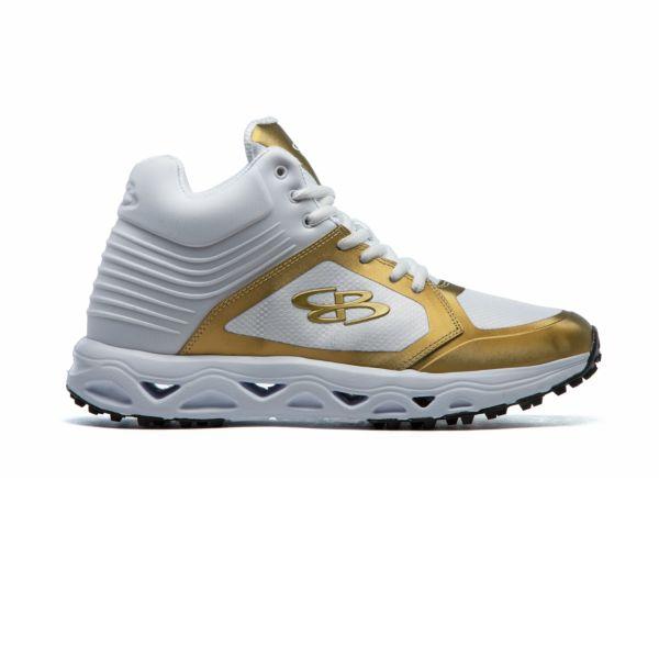 Men's Ballistic Metallic Turf Mid Shoe White/Metallic Gold