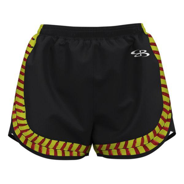 Girl's PS Softball Black Seams Aspire Short Black/Optic Yellow/Red