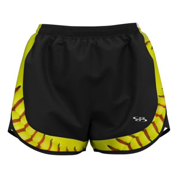 Women's Softball Stitches Aspire Short Black/Optic Yellow/Red