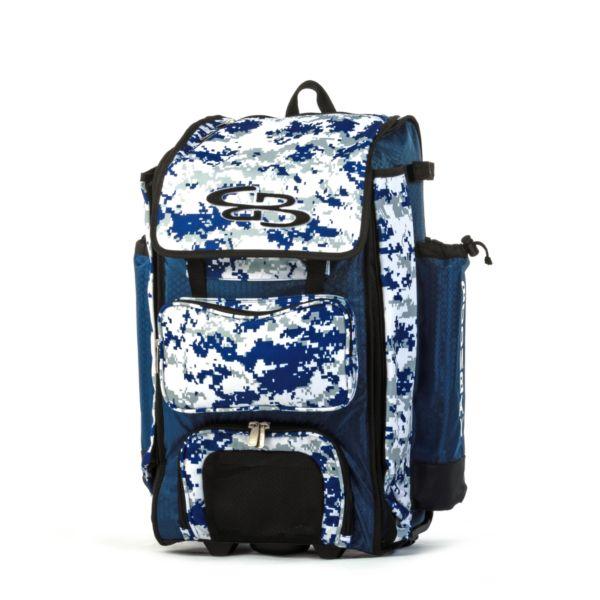 Rolling Catcher's Superpack Bat Bag Digital Camo Royal Blue/Gray