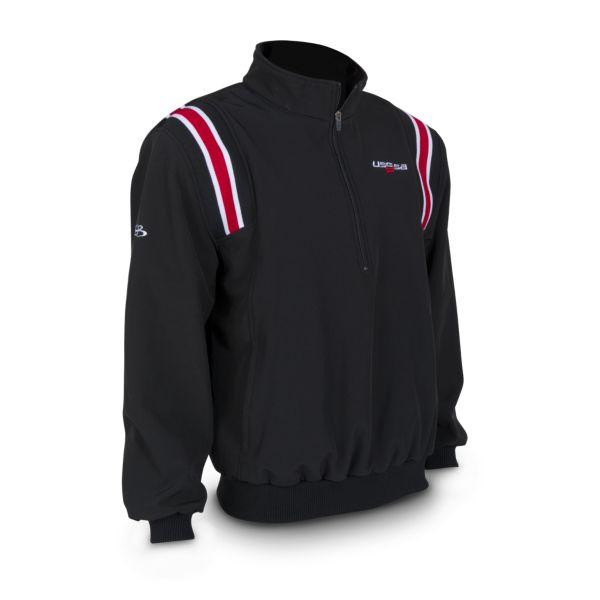 Men's USSSA Softshell Fleece Quarter Zip Pullover Black