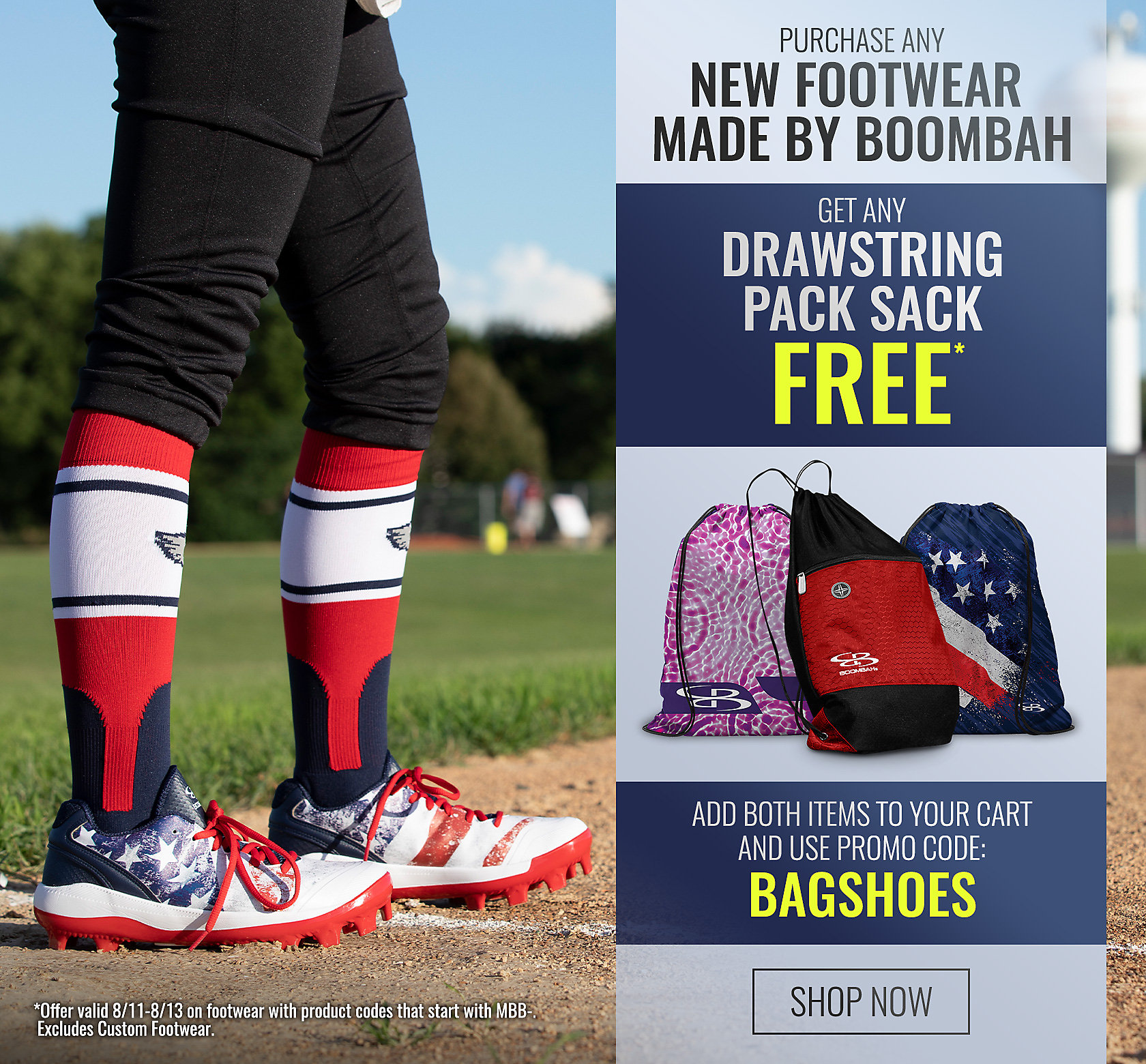 Purchase New Footwear Made by Boombah, Get Drawstring Pack Sack for Free