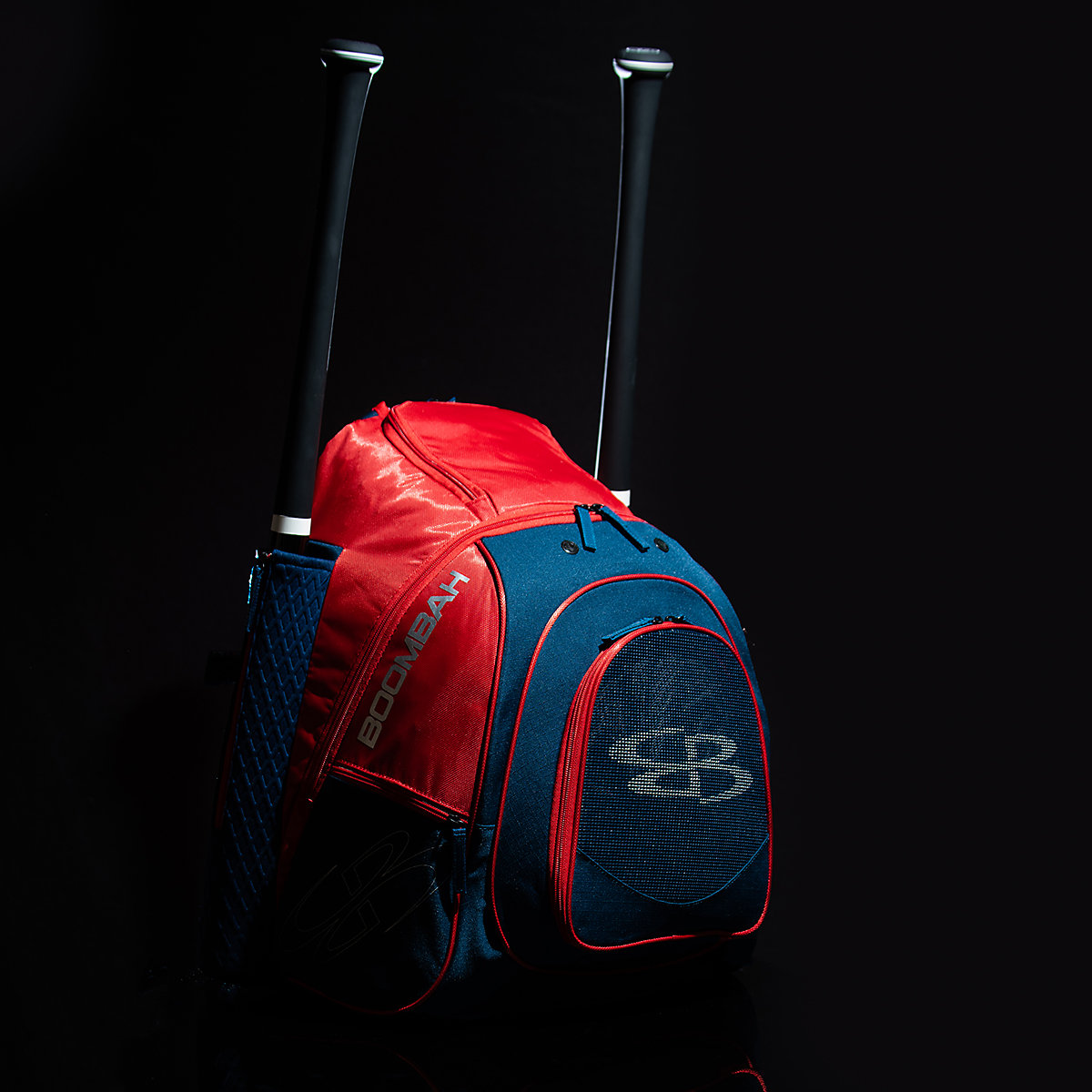 A blue and red bat bag with two baseball bats sticking out