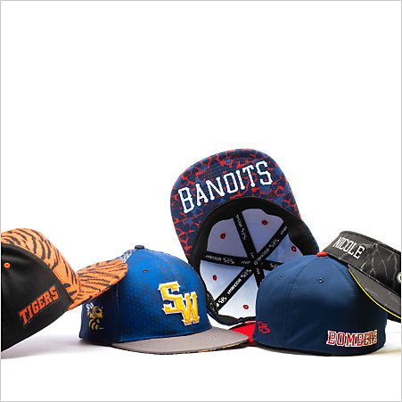 An assortment of baseball hats
