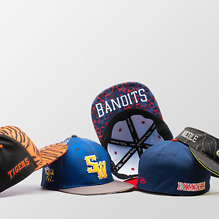 An assortment of sports hats