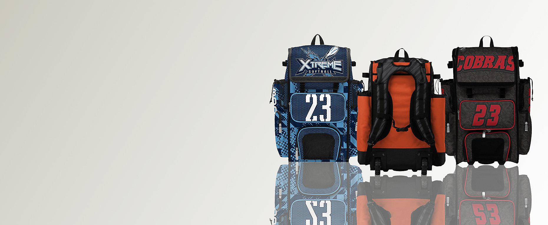 Custom Superpack Back Pack, Custom Superpack Hybrid Rolling Back Pack, Custom Superpack Rolling Bat Bag
