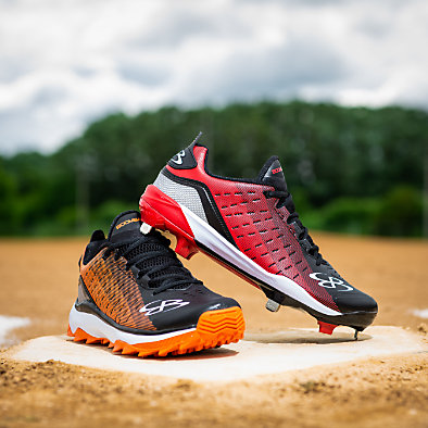 Two baseball cleats on base