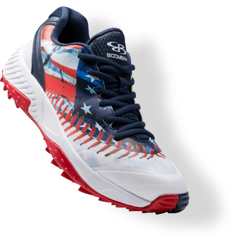Red white and blue Dart baseball shoe