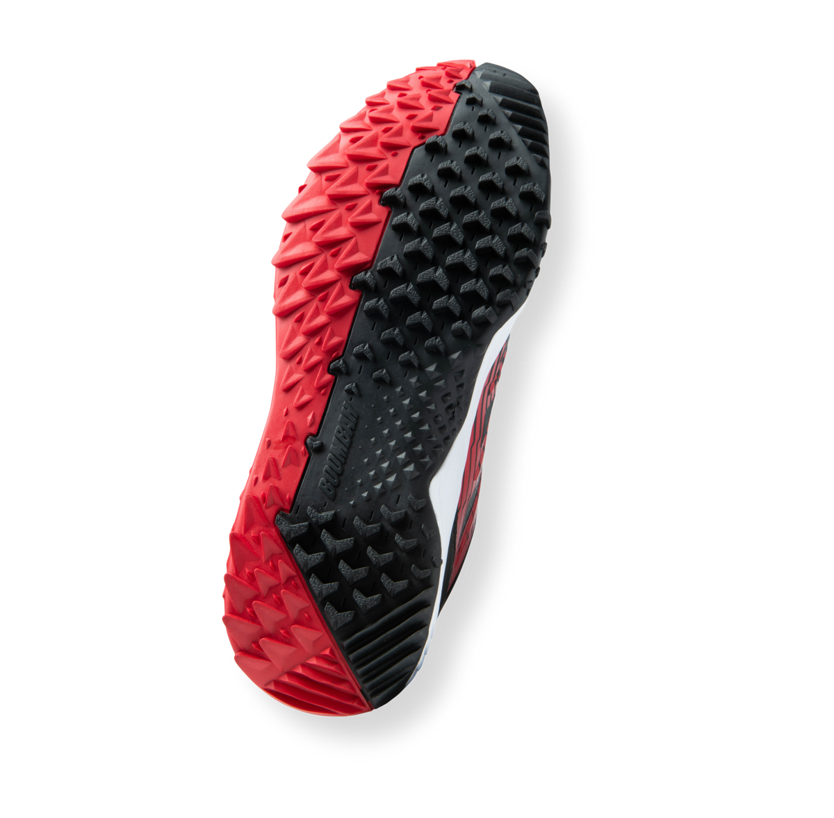 Red and black baseball shoe outsole