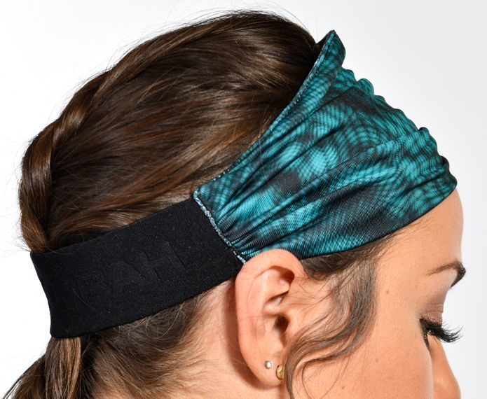 Teal headband with black graphic