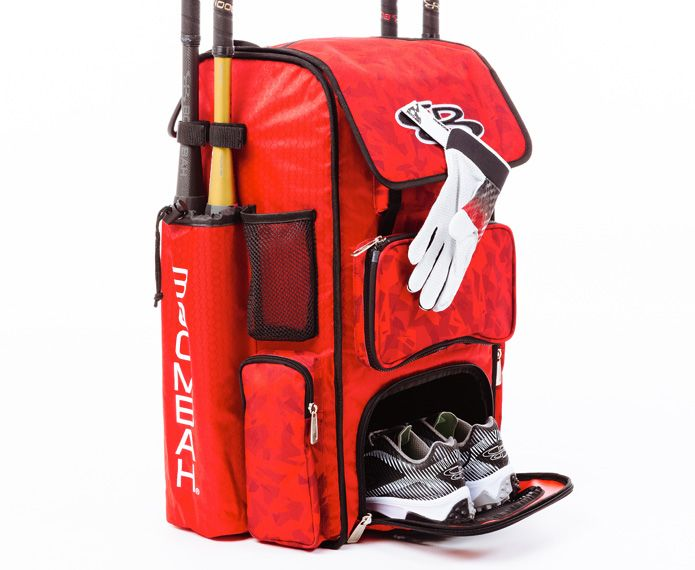 Red Superpack holding shoes, batting gloves and baseball bats