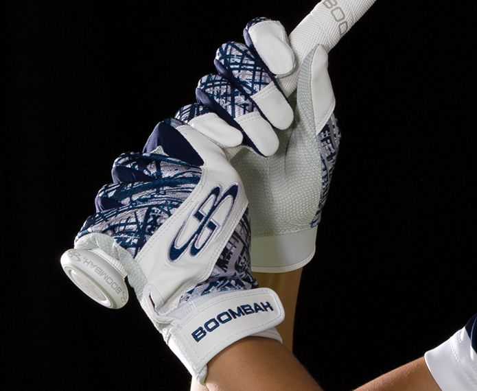 White and blue branded Torva batting gloves