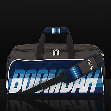 Blue Duffle Bag on a gray background