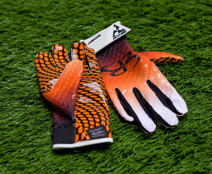 Branded receiver gloves with orange and black graphics