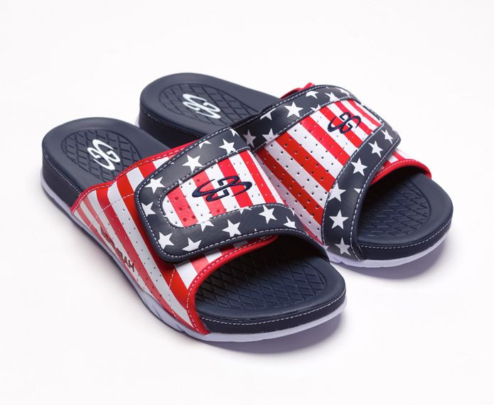 Navy slide sandals with red, white and blue graphics
