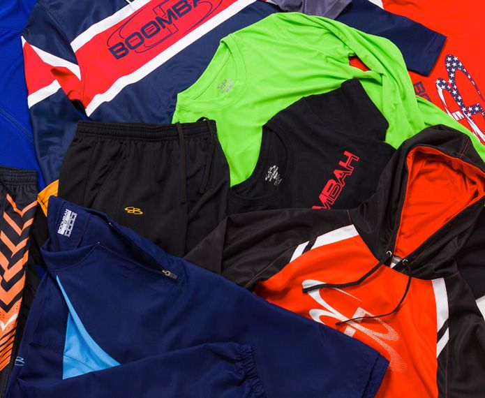 An assorted collection of branded apparel