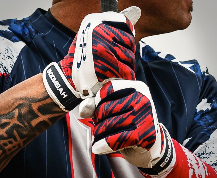 White branded batting gloves with red and navy graphics