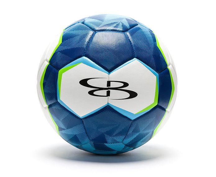 Blue, white and green branded soccer ball