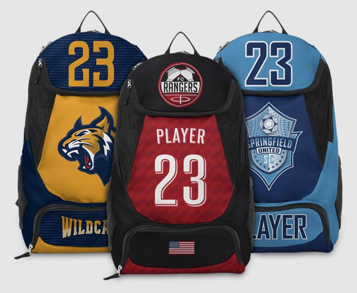 Three Striker backpacks with varying colors and graphics