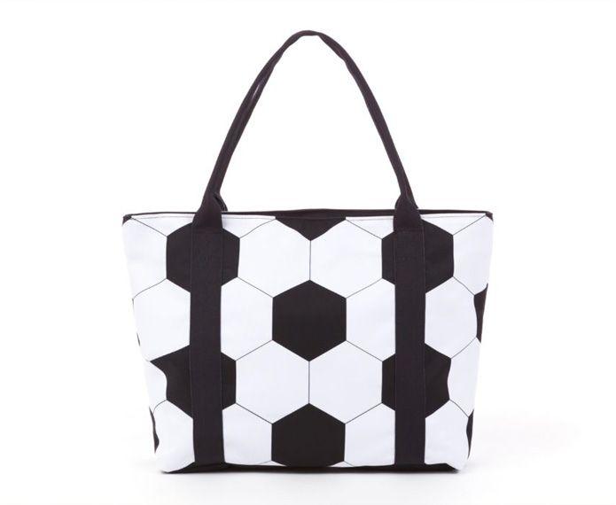 Black and white soccer-print tote bag