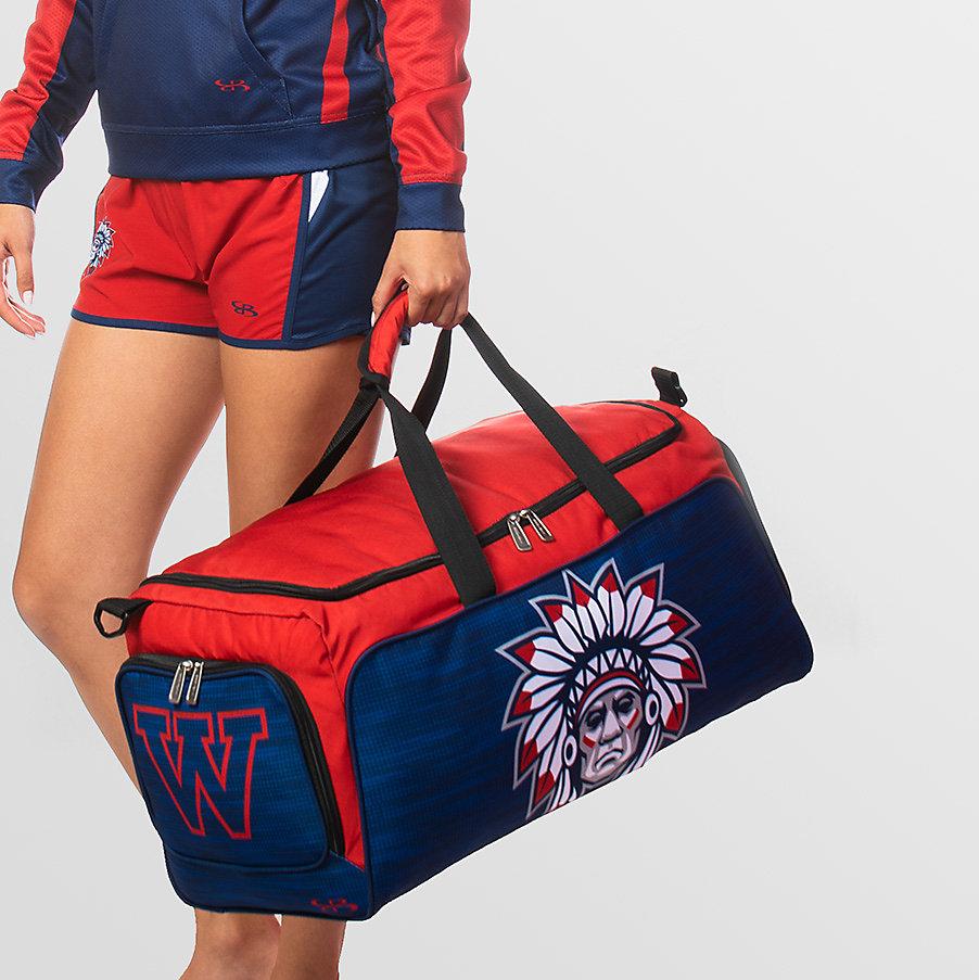 custom red and blue duffle bag
