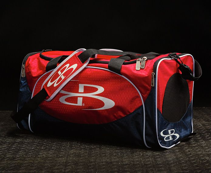 Red and navy branded Furia duffle bag