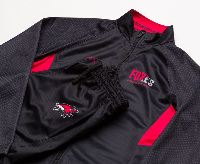 Black and red warm-up pants and jacket